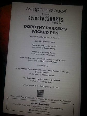 Program for Selected Shorts Program at Symphony Space