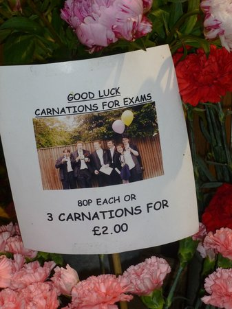 Oxford Covered Market: Carnations for the grad exams when we were there
