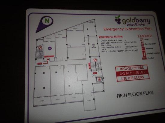Goldberry Suites & Hotel: 5階のフロアー案内図