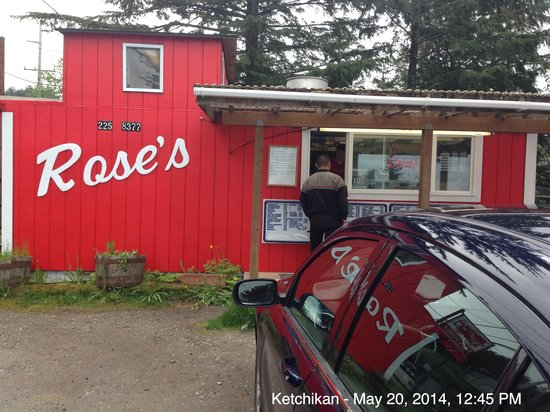 AJ's Gourmet Burgers : Rose's Caboose on North Tongass Highway