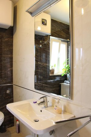 S&L Guesthouse: Very clean shared bathroom with a LARGE sink and mirror