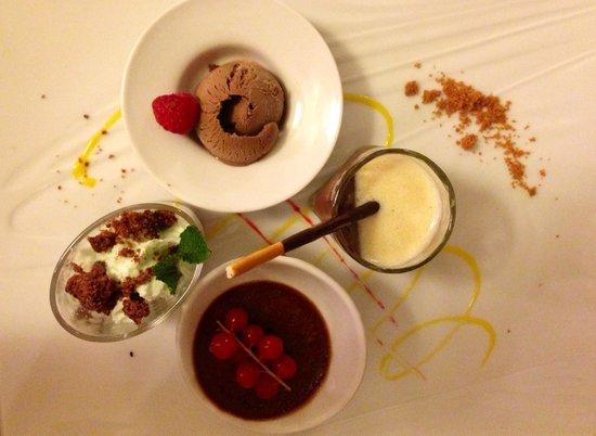 Restaurant La Fleur de Thym: Chocolate three ways (I know there are four items, go figure)