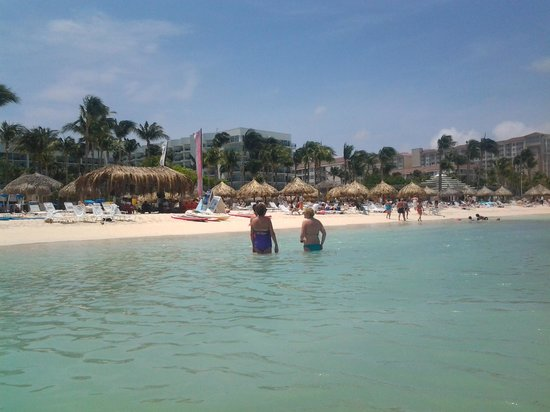 Aruba Marriott Resort & Stellaris Casino: View of other hotels from beach.
