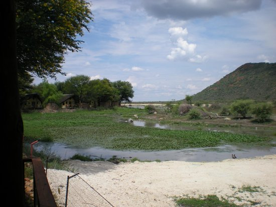 Tau Game Lodge: Deck at room overlooking water hole