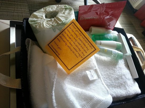 Homewood Suites Nashville Vanderbilt: Basket of essentials that housekeeping leaves outside your door if you use the do-not-disturb si