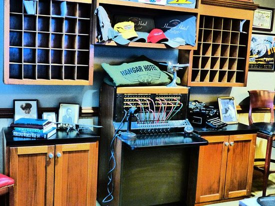 Hangar Hotel: The front desk -- and switchboard!