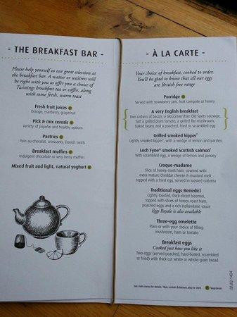 The Woolpack Inn: Breakfast menu