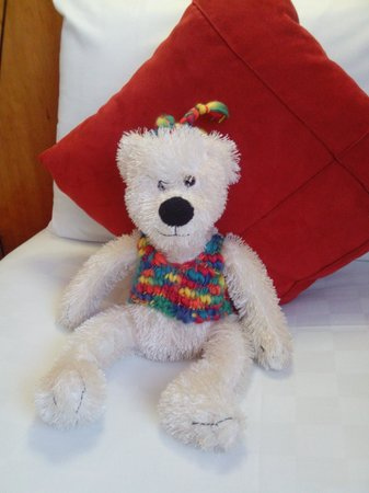 Camden the bear on my bed at Thistle City Barbican Hotel