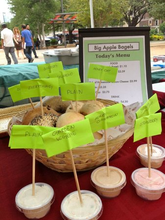 Big Apple Bagels: wide variety of bagels and cream cheese