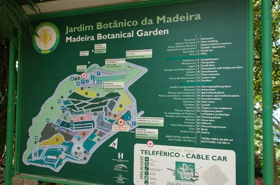 Madeira Botanical Garden : схема сада у входа