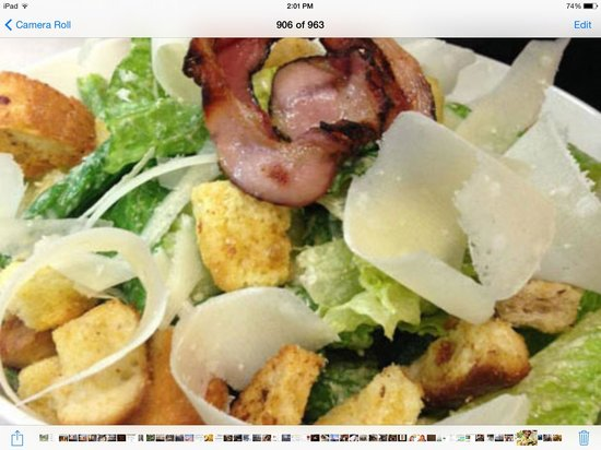 Pomodoro Trattoria & Wine Bar : caesar salad, croutons, pancetta,medium boiled egg, reggiano