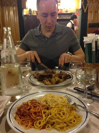 Trattoria Palazzaccio : Pasta 3-way and roasted milk-fed lamb, delicious!