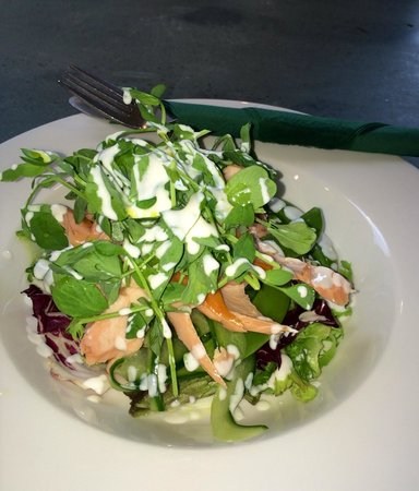 Birnam Arts and Conference Centre: Dunkeld Kiln Roast Smoked Salmon Salad with Lemon Sour Cream Drizzle....