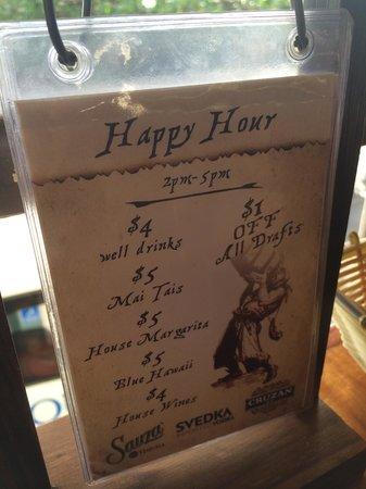 Captain Jack's Island Grill : happy hour drink menu