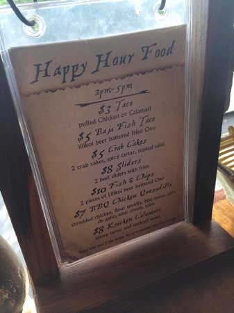 Captain Jack's Island Grill: happy hour food menu