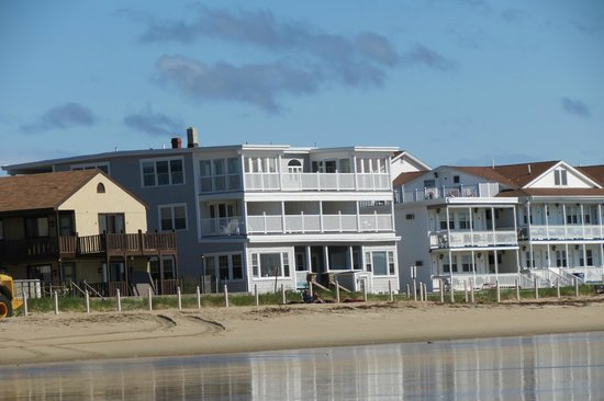 The Beach House: View of the inn from the beach