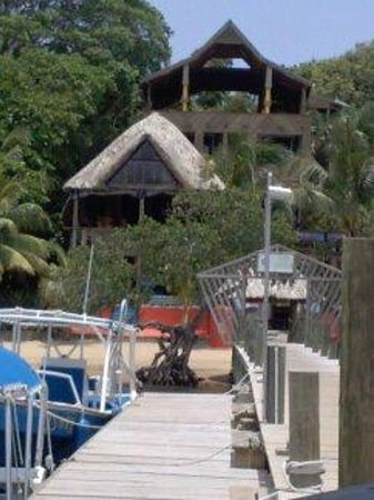 Tranquilseas Eco Lodge and Dive Center: View of the resort from the dock