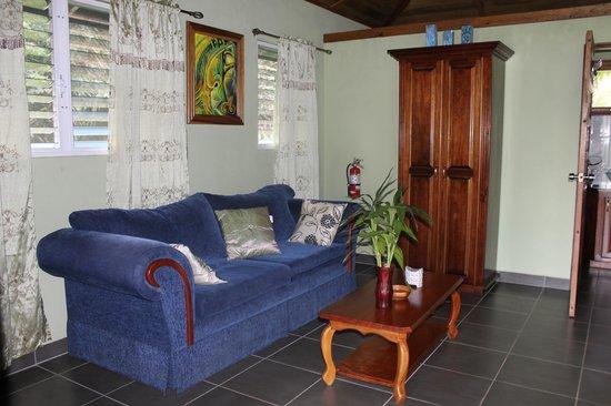 Inn the Bush Eco-Jungle Lodge: Living Room in Harpy Eagle Cabin