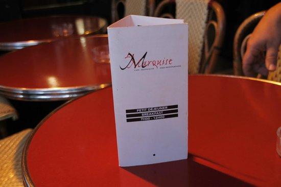 La Marquise: carte du resto pour petit dej ou brunch