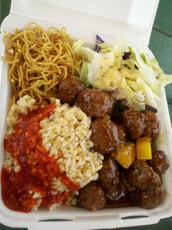 Mark's Place: Pineapple teryaki meatballs (added some sriracha sauce to the rice)