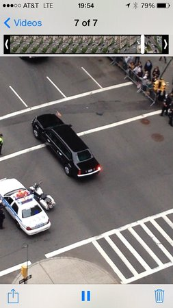 Loews Regency New York Hotel: View from Balcony. President Obama's Motorcade.