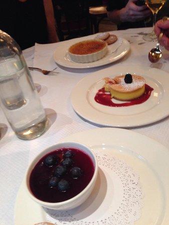 Balthazar : Desserts. Crime caramel, pana cotta and lemon mouse.