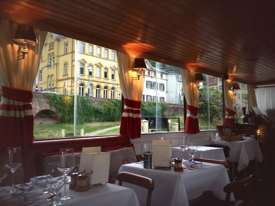 Heidelberg Suites : View from table on hotel restaurant-boat Patria