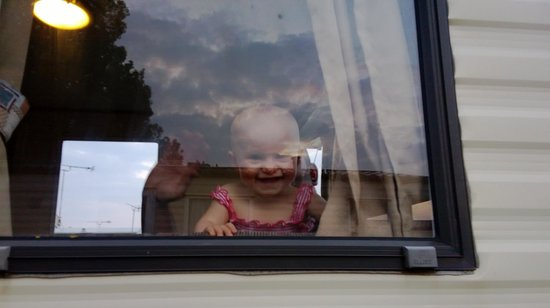 Heacham Beach Holiday Park - Park Resorts: my 9 month old enjoying her first peep out of the caravan window