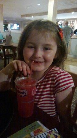 Heacham Beach Holiday Park - Park Resorts: my 7 year old enjoying a slushie from the tavern