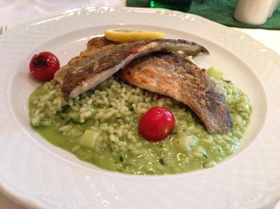 Gasthof Grunwald - St. Daniel: Fried fillets of Trout on an asparagus risotto, €13, very good