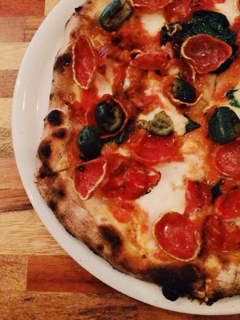 LAMP Wood Oven Pizzeria: The Scientist pizza - love the toppings, especially the cracked green olives.