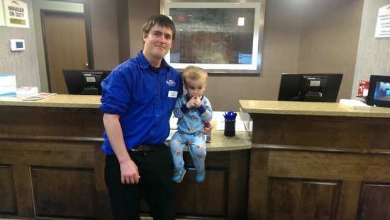 Baymont Inn & Suites Minot: my son Brody and his new best friend Dustin