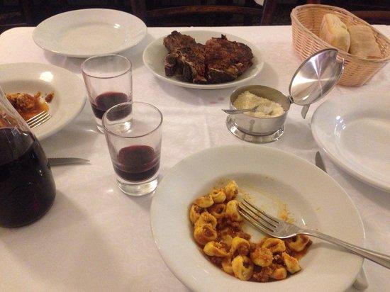 Trattoria Sostanza: Florentine Steak, local red wine and Tortellini in meat sauce