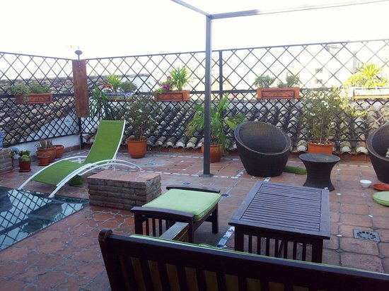 Oasis Backpackers' Hostel Granada: Terrace that also has a huge shade overhead