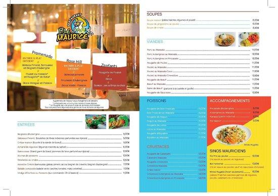 Restaurant L'Ile Maurice : Nouvelle Carte Verso