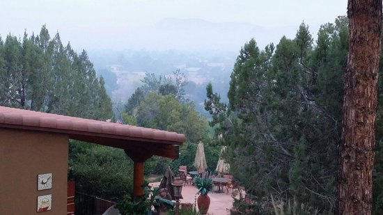 A Sunset Chateau: This is taken from my room balcony.  This misty haze may be from the fires between Sedona and Fl