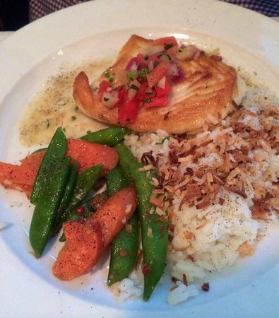 Talulah's: Halibut with Jasmine Coconut Rice and vegetables