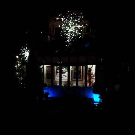 Number Sixteen: Private garden by night.