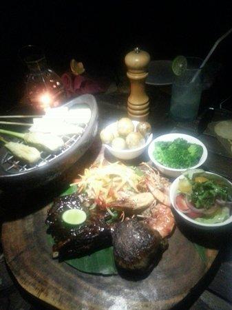 The Menjangan: Surf and Turf of Pantai Restaurant for Dinner. Good for sharing.