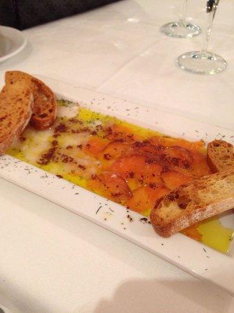 Restaurante Rincon de Pepe: Carpaccio de salmon y de bacalao