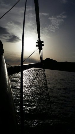 Santorini Yachting: Taken from the front of Captain George's boat. May 20 2014