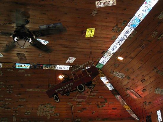 Bones Roadhouse, the ceiling
