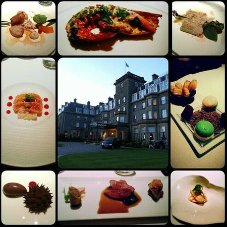 Andrew Fairlie @ Gleneagles: some of the dishes from the Degustation and the front of the hotel.