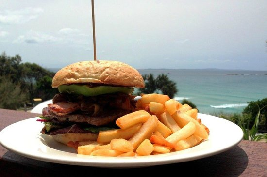Bistro Dining at Stradbroke Island Beach Hotel: Burger and chips from our lunch menu