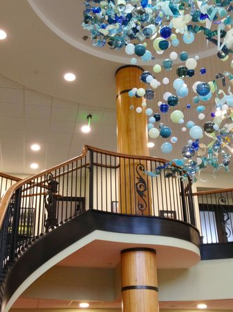 Hand blown glass chandelier by local mi artist april wagner the inn at harbor shores hand blown glass chandelier by local mi artist april aloadofball Image collections