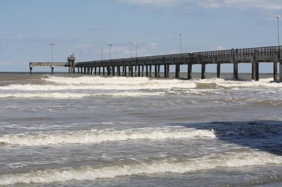 Padre Island National Seashore: View of pier from beach.