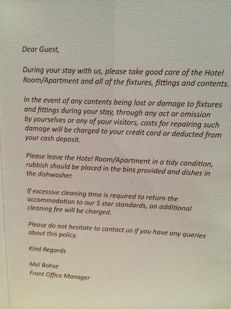 Notice About Room Picture Of The Rees Hotel Luxury