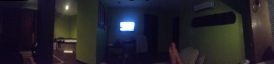 The Panams: Room Pan View.  The quality is a bit poor but it shows the room has a little sofa area and jacuz