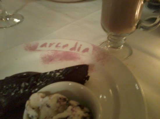 Arcadia : Chocolate tart, gelato, and Irish coffee