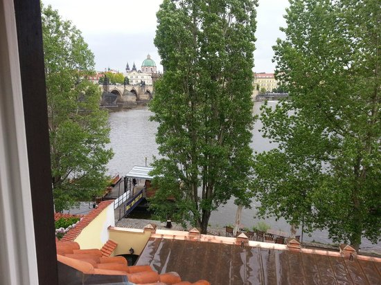 Archibald At the Charles Bridge: We could see the Charles Bridge and the Vltava River from our room